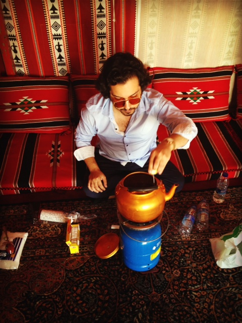 Yousef making us some tea